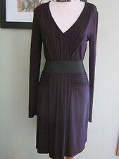 Three Dots eggplant purple draped stretch belted Dress Size M