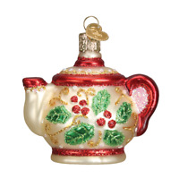 Old World Christmas Holly Teapot Glass Ornament FREE BOX 32247 New