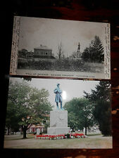MANCHESTER CT - CIVIL WAR - SOLDIERS MONUMENT - OLD Postcard plus MODERN PHOTO