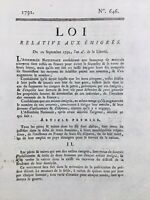 Émigrés en 1792 Rare Loi de la Révolution Française signée Buyard à Dijon