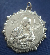 Attractive VERY LARGE Silver Pendant - Our Lady / Virgin Mary / Madonna & Jesus