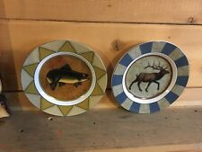 Dan Morris Fish Elk Decorative plate cypress  rustic lodge decor trout