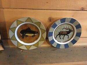 Dan Morris Fish Elk Decorative plate cypress rustic lodge decor troutcabin deer