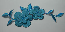 BLUE FLOWER TRIMMING Embroidered Iron Sew On Cloth Patch Badge  APPLIQUE