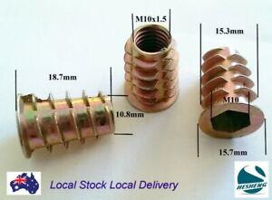 Qty 10 M10 19mm Wood Threaded Flange Insert Zinc Steel Alloy Inserts Allen Nuts