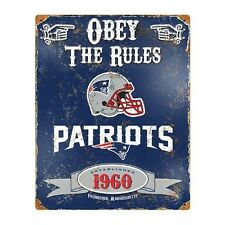 NFL New England Patritots Vintage Metal Sign 11.5 x 14.5 Obey The Rules