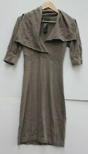 D.Exterior Italian made taupe wool dress size S UK 10