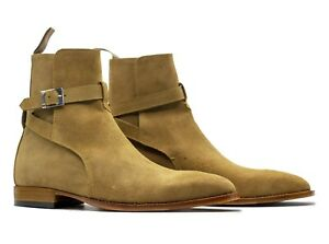 Mens Handmade Beige Color Ankle High Suede Jodhpurs Style Boot mens Camel Boots