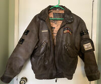 EXPRESS Leather Bomber Jacket Aviator French Patches Heavy Women Size S Small
