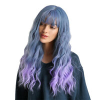 Women Long Straight Synthetic Hair Ombre Blue Wig Heat Resistant Full Wigs