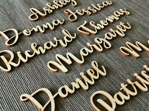 Wooden Wood Wedding Script Name, Letters, Word, Personalised Laser Cut Cards L16