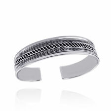 "7.5"" Twist Design Cuff Bracelet - 925 Sterling Silver - Braided Unisex Gift NEW"