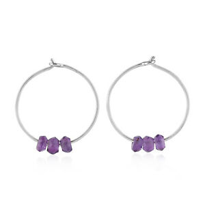 Mother's Day Gift Huggie Earrings Amethyst 18k White Gold Jewelry OPS-16482