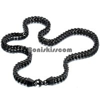 Polished Black Stainless Steel Square Wheat Link Chain Men's Necklace 22 Inches