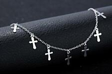 Ankle Bracelet Chain Foot Anklet A16 Women's 925 Sterling Silver Gp Cross