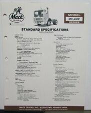 1982 Mack Trucks Model MC 400P Diagrams Dimensions Sales Brochure Original