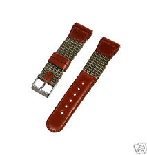 19mm-S (SHORT) Brown/Green Leather & Nylon Military Watch Band Fits Swiss Army