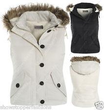 Size 8 10 12 14 16 Womens GILET BODYWARMER Ladies JACKET PADDED Waistcoat Fur