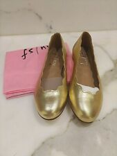 French Sole Razor Soft Gold Leather Ballet Flat sz 6 New In Box