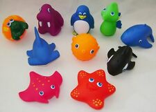 NEW 10 FUNNY BATH SQUIRTER ANIMAL TOYS PUFFER FISH WHALE RAY SHARK CRAB IN TUBE