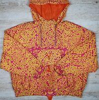 OILILY Vintage 90s Mens M L Hoodie Womens Unisex Windbreaker Pattern Jacket Loud