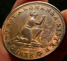 1838 American Anti-Slavery Token High Grade Red and Brown