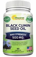 Pure Black Cumin Seed Oil 500mg - 180 Capsules - Cold Pressed Nigella Sativa