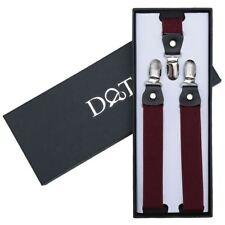 DQT Polyester Plain Solid Burgundy Formal Adjustable Clip-on Page Boys Braces