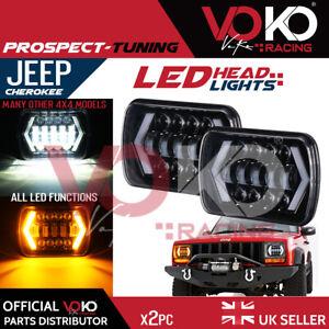UK 2pc 7X6in LED Headlights Hi-Lo Beam DRL Lamp H4 Jeep Wrangler Cherokee VKOV13