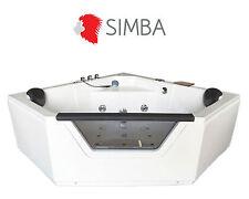 Whirlpool 150 x 150 cm glass panel corner bath tub , HOT TUB Taps Ibiza
