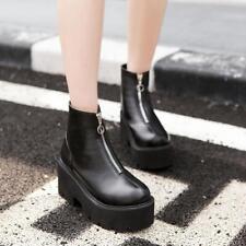 Ladies Gothic Ankle Boots Zipper High Platform Punk Combat Shoes Round Toe Uk Sz