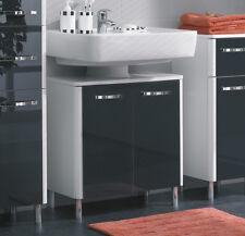 RESTPOSTEN Pelipal Badmöbel > LEONA > Unterschrank 53 cm, Glas Schwarz / weiß