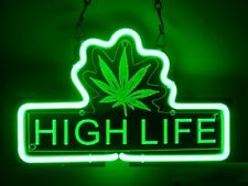"""High Life Cannabis Marijuana Leaf 3D Carved Neon Sign 14""""x10"""" Bar With Dimmer"""