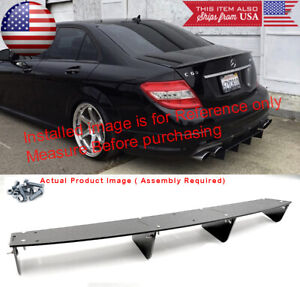 "34"" x 6.25"" Shark Fin ABS Rear Bumper Splitter 4 Diffuser Fin Black For Mercedes"