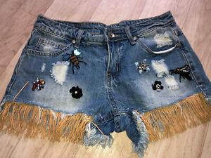 Damen Sommer Jeans Shorts Bermuda Gr.S/36  Kurze Hose Denim Pailletten Biene