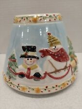 Yankee Candle Christmas Holiday Snow Scene Snowman Large Jar Candle Shade Topper