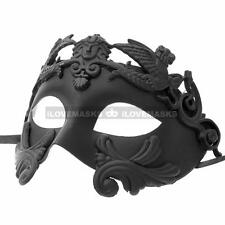 Black Warrior Male Masquerade Mask - Roman Greek Venetian Mardi Gras Prom Party