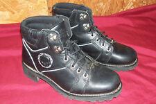 "Men's Size 8 M Harley Davidson Black Leather Motorcycle Boots Biker D Lace Up 6"""