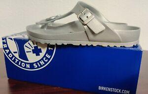 New Birkenstock EUR 38 Gizeh Eva Metallic Thong Sandals Woman's 7 Silver