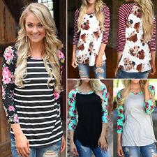 Women Floral Striped 3/4 Sleeve T-Shirt Blouse Casual Tee Shirt Tops Sweatshirt