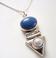 Cultured Pearl and Lapis 925 Sterling Silver Necklace Corona Sun Jewelry