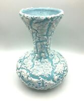 "Vintage Mid Century Modern Lava Glaze Studio Art Pottery MCM Vase Blue 9"" Tall"