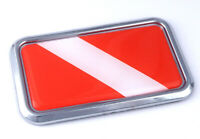 "Divers Dive Diving flag rectangular Chrome Emblem 3D Car Decal Sticker 3""x1.75"""