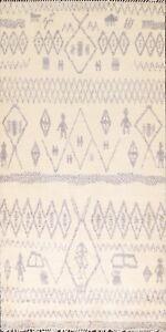 Tribal Geometric Ivory Natural Dye Moroccan Oriental Area Rug Handmade Wool 6x9