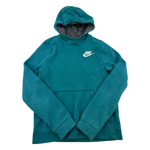 Nike Sweater Youth Large Green Swoosh Pullover Hoodie Hood Kids Boys Outdoor