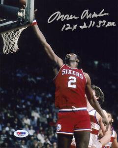 Moses Malone SIGNED 8x10 Photo + INSC Philadelphia 76ers PSA/DNA AUTOGRAPHED