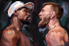 Floyd Mayweather Connor McGregor Art Wall Indoor Room Poster - POSTER 24x36
