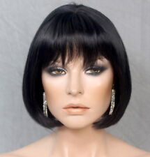 Classic Short Straight bob Jet Black w. bangs WIG Hairpiece WADE 1 NWT