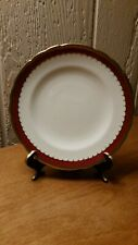 """Royal Crown Derby White with Deep Red & Gold Scalloped band 6 1/2"""" Dessert Plate"""