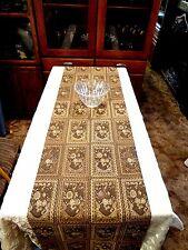 TABLE RUNNER/BED THROW  - HANDMADE - Brown Multi Tapestry Look - #TR492001